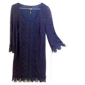 Navy blue lace knit dress, Laundry